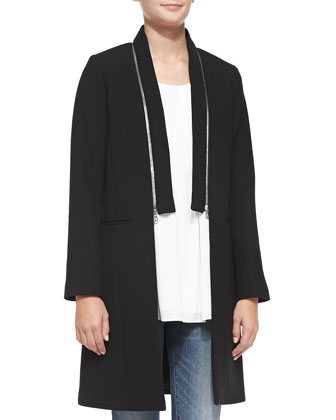 Bonded Crepe Zip-Collar Coat