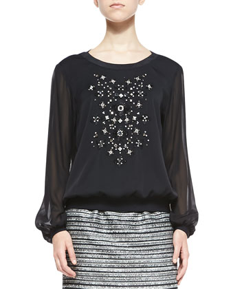 Long-Sleeve Top W/ Hand-Beaded Front
