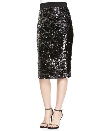 Sequined Slim Pencil Skirt