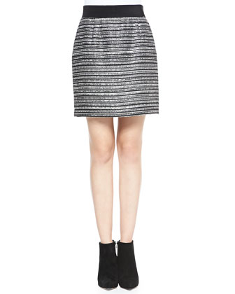 Striped Back-Zip Bell Skirt