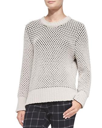 Zip-Back Wide-Stitch Sweater