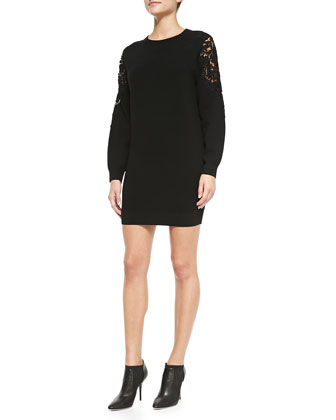 Lindessa Evian Lace-Inset Sleeve Sweater Dress