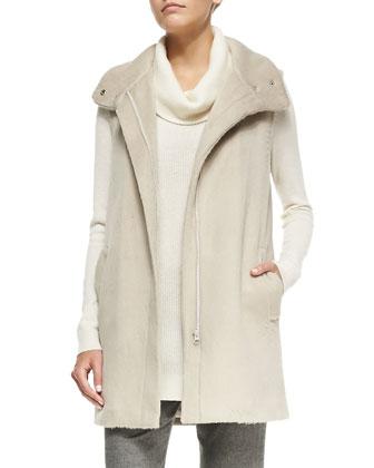 Snap-Neck Long Fuzzy Vest