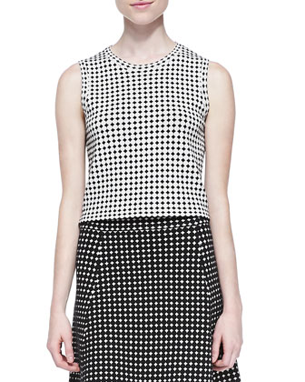 Breeta D Sleeveless Dot-Print Crop Top