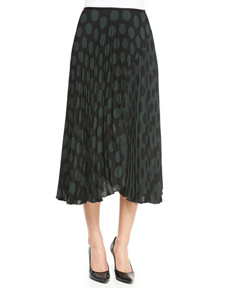 Zeyn Pleated Dotted Chiffon Skirt