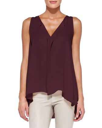 Avon Draped Sleeveless Silk Blouse