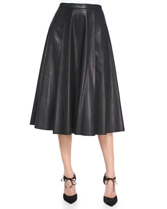 Leather Center-Pleat Skirt