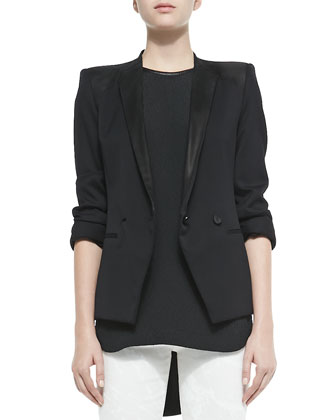 Wool-Crepe Smoking Blazer
