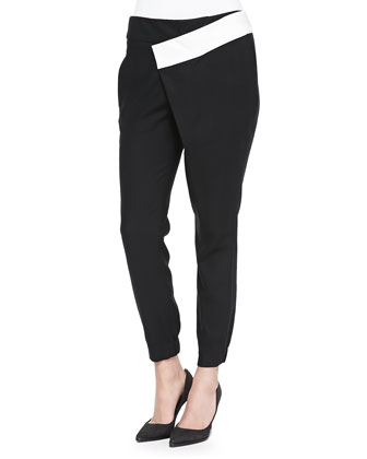 Flex Contrast-Waist Wrap Suit Pants