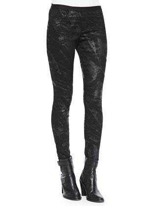 Tera Paint-Print Slim Leggings, Black