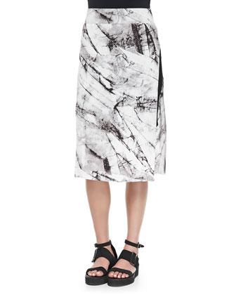 Terrene Slit Marble-Print Skirt