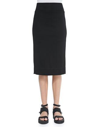 Lateral Drape Pencil Skirt, Black