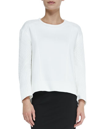 Echo Jacquard Textile-Sleeve Sweatshirt, Optic White