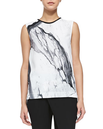 Hydra Marble-Print Sleeveless Top