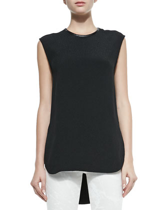 Sleeveless Jewel-Neck Tissue Silk Top