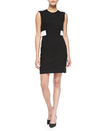 Flex Suiting Dress W/ Contrast Leather Waist