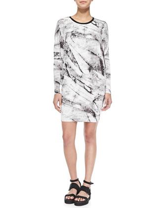 Terrene Long-Sleeve Marble-Print Dress