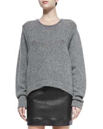 Lofty Felt Pullover W/ Slouch Cuffs, Gray