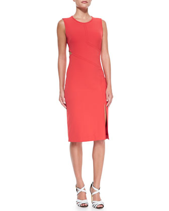 Cutout-Detail Ponte Sheath Dress