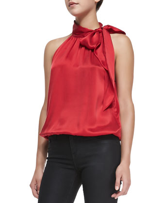 Faustina Satin Bow-Neck Blouse
