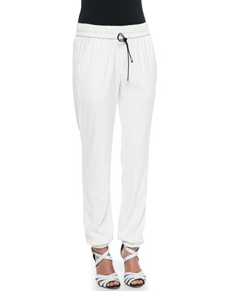 Tuxedo-Stripe Drawstring Jogging Trousers