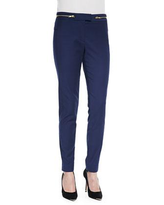 Casual Zip-Detail Suit Trousers, Blue