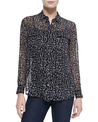 Signature Long-Sleeve Leopard-Print Blouse