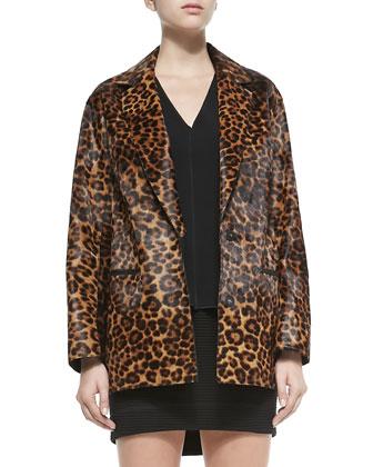 Sigrid Leopard-Print Calf Fur Coat