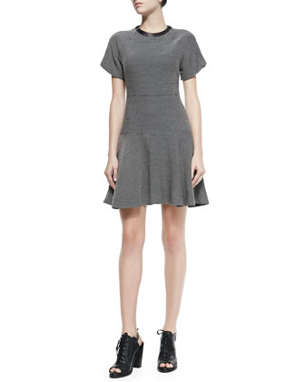 Watson Flared Micro Houndstooth Dress