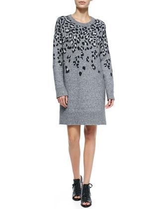 Isadora Crewneck Leopard Sweaterdress