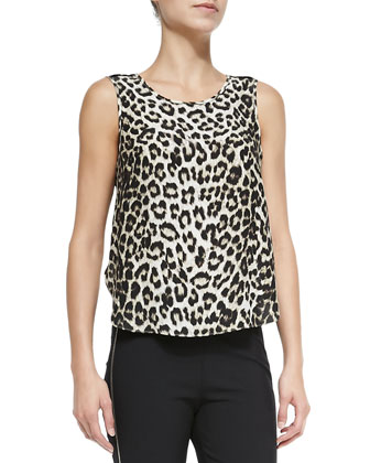 Fleet Sleeveless Leopard-Print Top