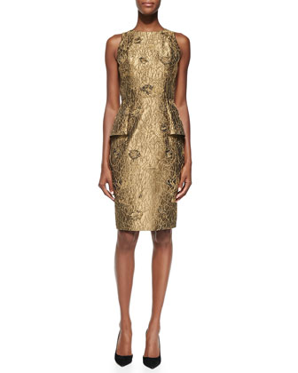 Sleeveless Metallic Cocktail Dress W/ Peplum