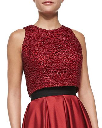 Sleeveless Metallic Lace Crop Top, Crimson