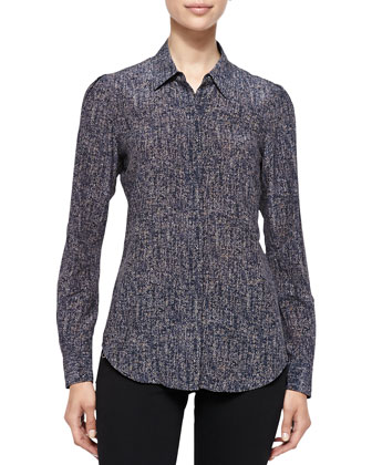 Miska Long-Sleeve Mock-Tweed Blouse