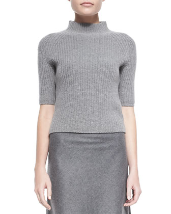Jodi Ribbed Knit Mock-Neck Sweater