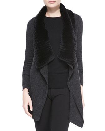 Maritza Fur-Collar Knit Cardigan