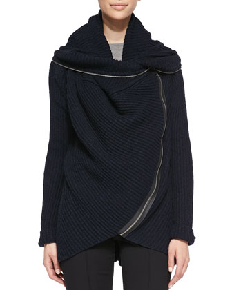 Nikki Ribbed Curved-Zip Sweater