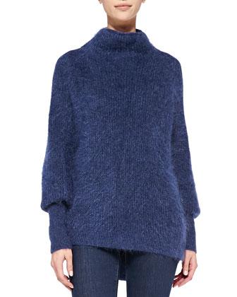 Dorene Mock-Neck Cape-Sleeve Sweater