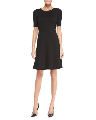 Maria Fit-and-Flare Short-Sleeve Dress, Black
