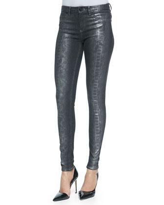 Azella Foiled Snake-Print Jeans