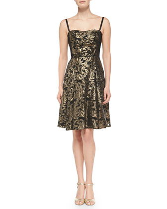 Spotlight Metallic Jacquard Dress