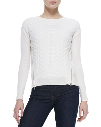 Cashmere Croc-Pattern Zipper Sweater