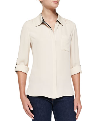 Lorelei Two Silk Tab-Sleeve Blouse