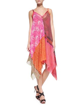 Patchwork-Print Asymmetric Coverup Dress