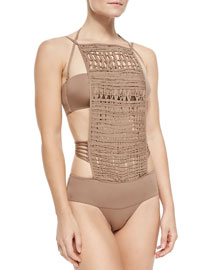 Crochet-Front Monokini Swimsuit