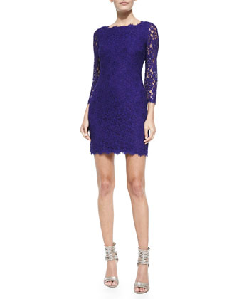 Zarita 3/4-Sleeve Fitted Lace Dress, Chrome Purple