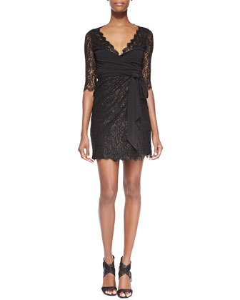 Elisabeth Jersey/Lace Wrap Dress