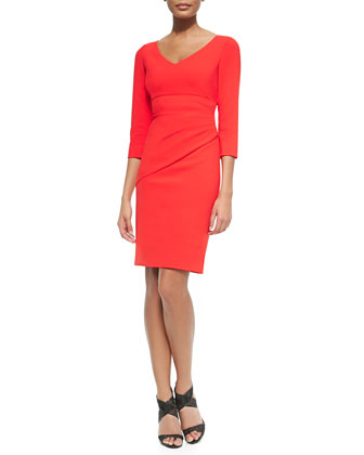 Bevin 3/4-Sleeve Dress W/ Bias Skirt