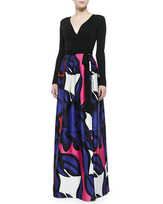 Kailey Wrap Maxi Dress W/ Floral Skirt