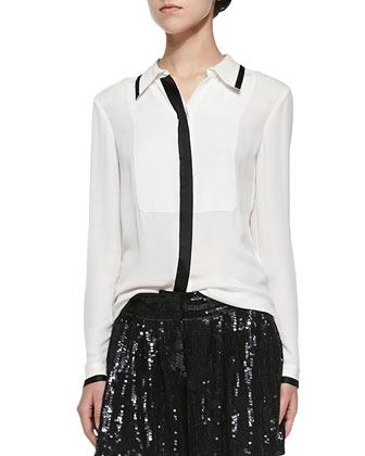 Quiana Long-Sleeve Blouse W/ Contrast Trim